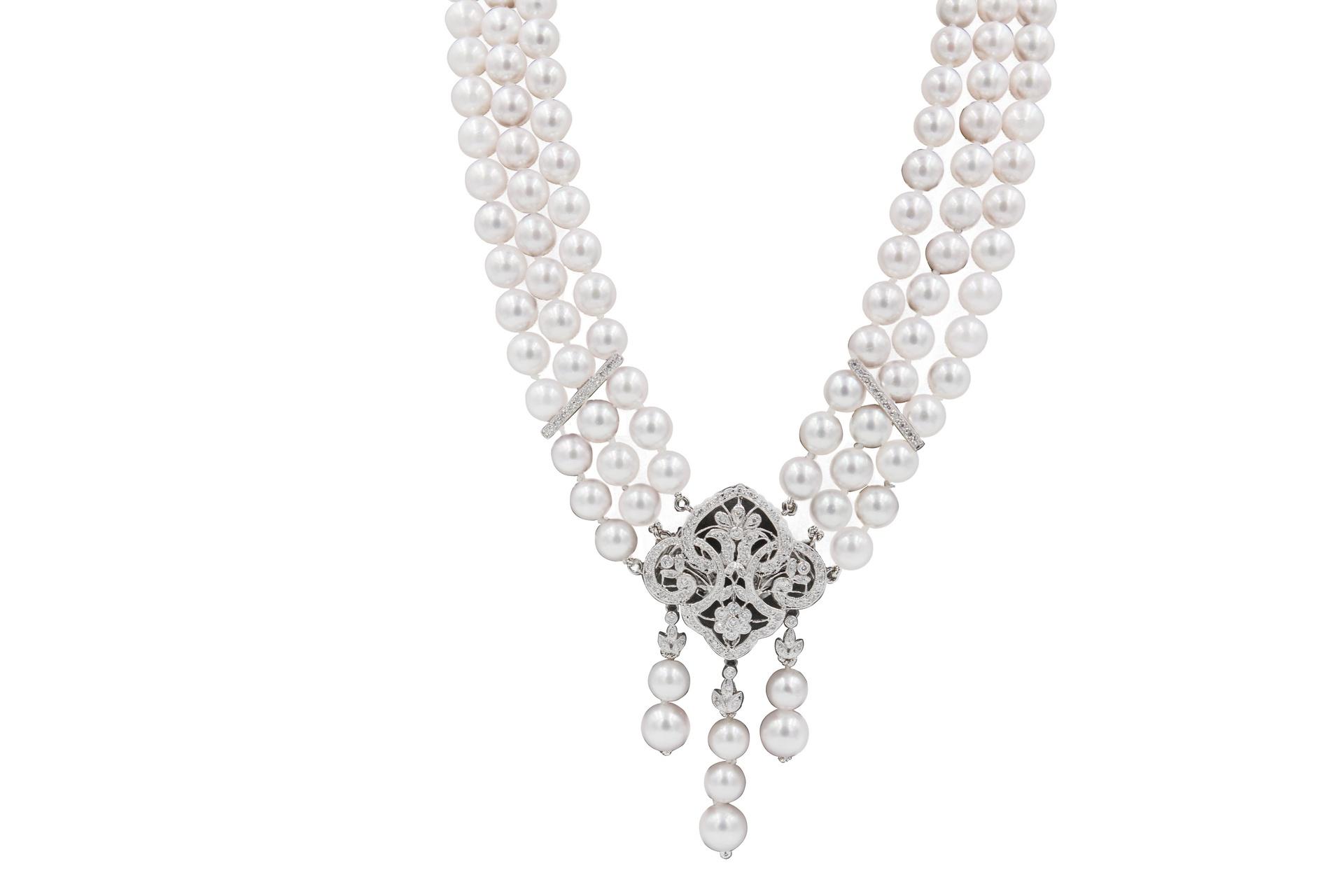 3 Row Okoya Pearl & Diamond Necklace Broach Combination