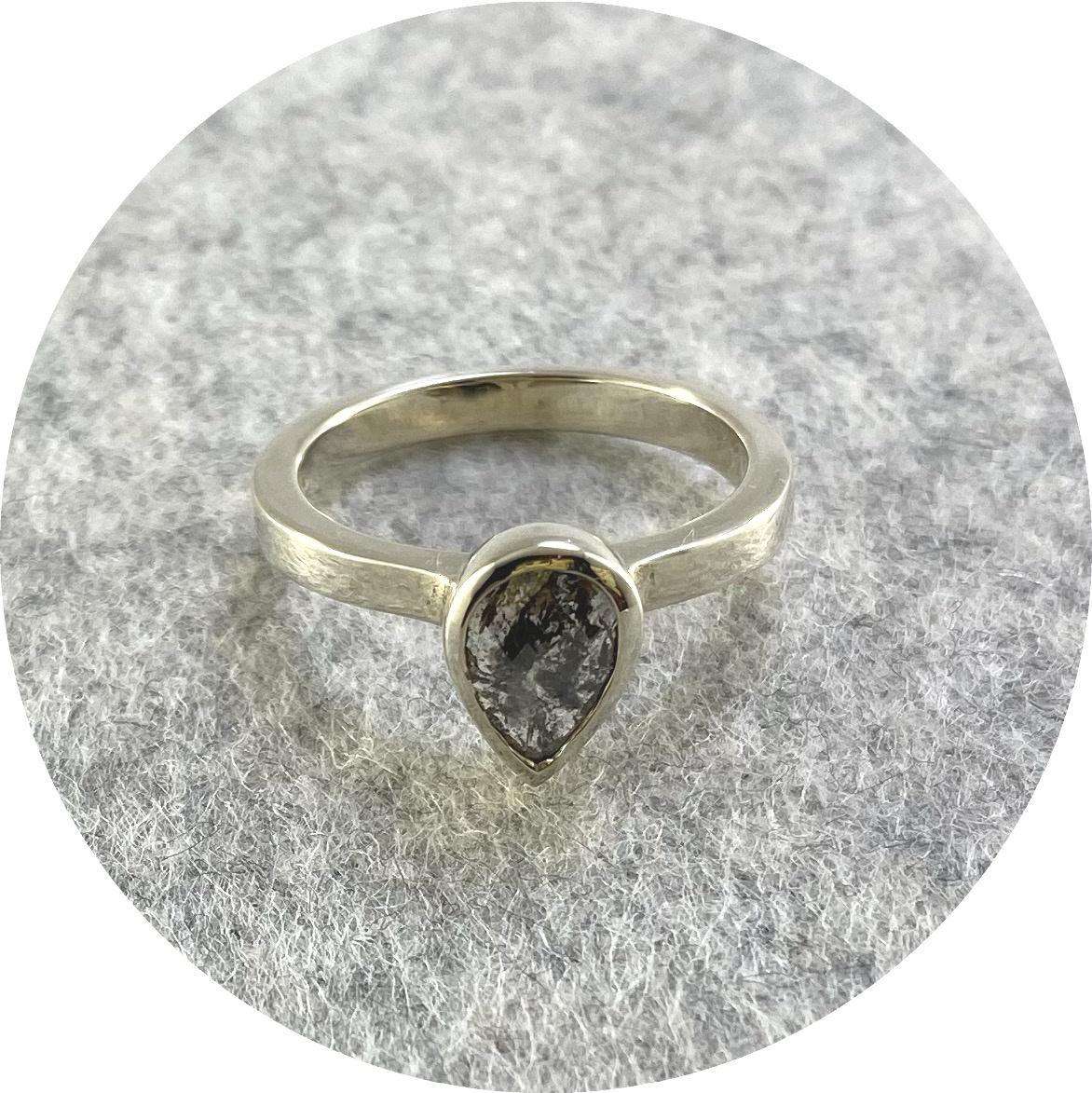 Brendan Cunningham - '1ct Pear Cut Salt and Pepper Ring', 9ct white gold K.5