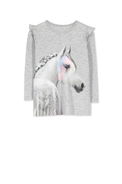 Milky LS Horse Tee Silver Marle