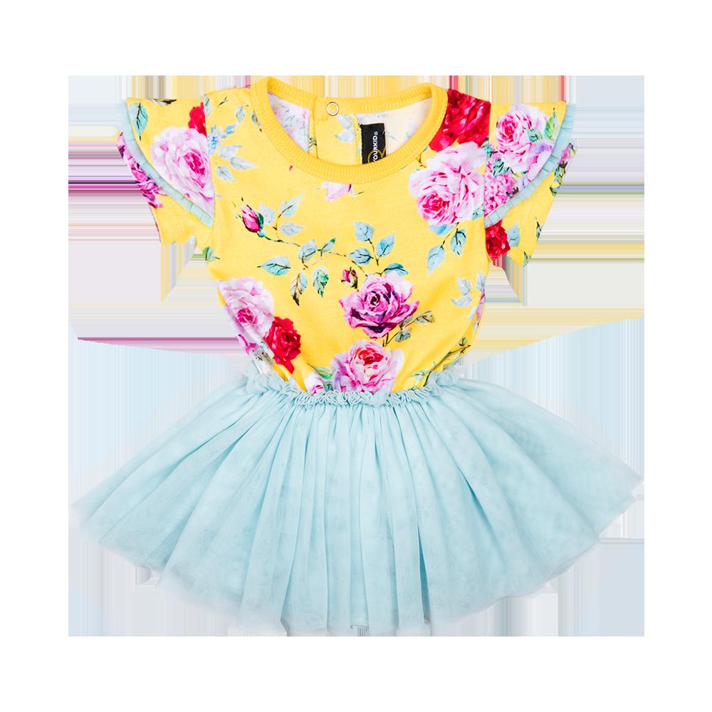 Yellow Floral Baby Circus Tutu Dress