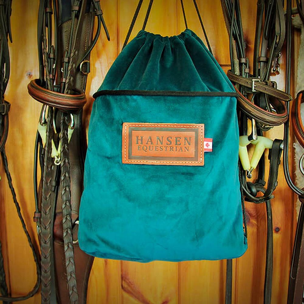 Hansen Equestrian Helmet Bag, Teal Lush Velvet