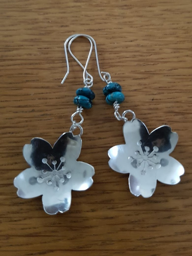 Silver Flower Earrings Made From Anese Sterling 950 Spoon Bowls