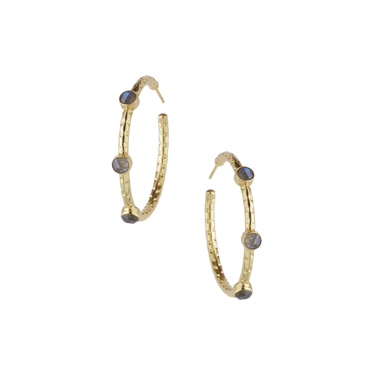 Cruise Gemstone Hoop Earrings in Labradorite