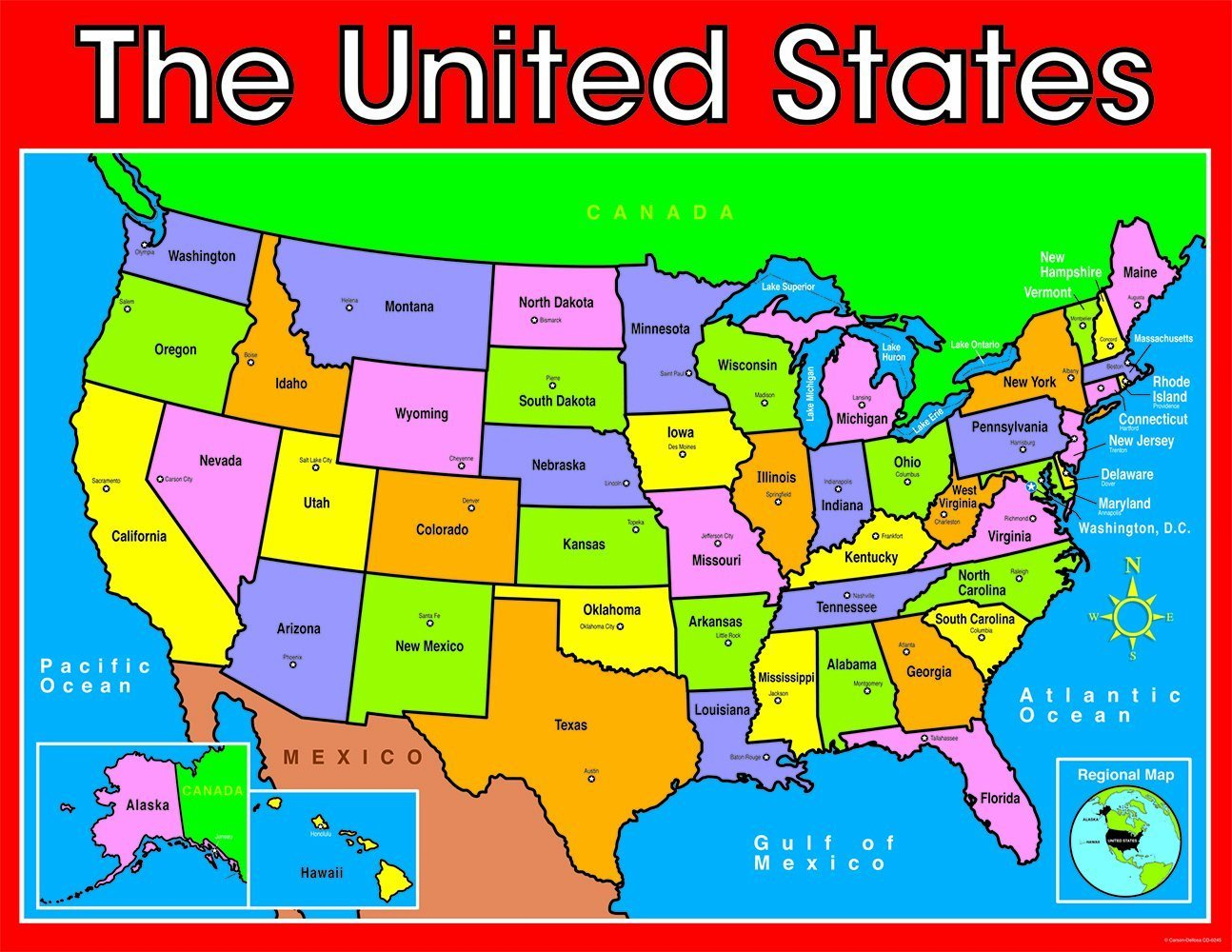 Cd 6245 The United States Map Chart American Studies Educators - Us-map-chart