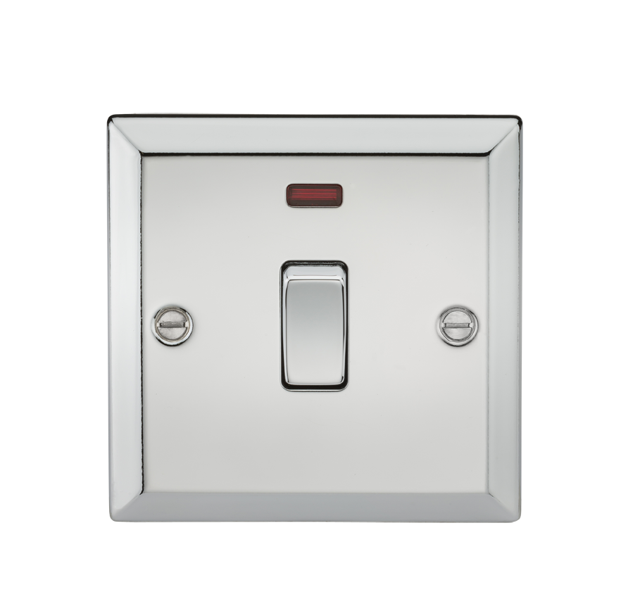 20A 1G DP SWITCH W/NEON - BEVELLED EDGE POLISHED CHROME