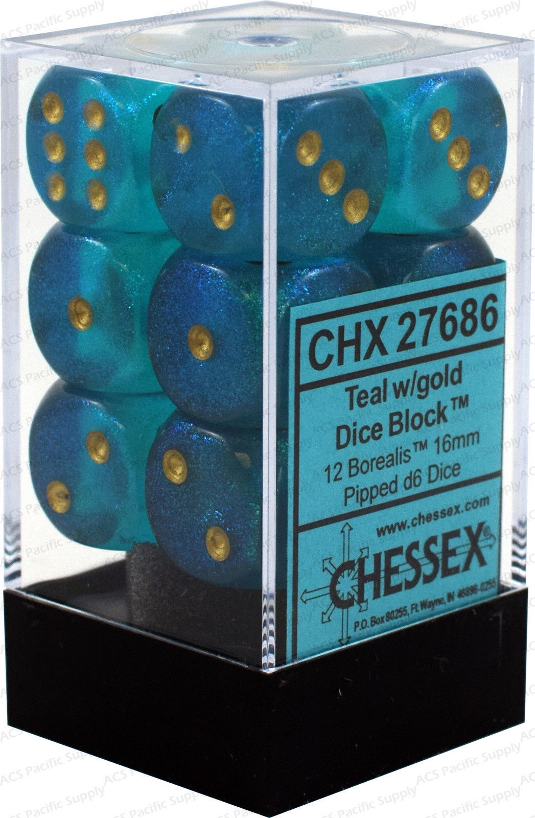 27686 >> Chx 27686 Borealis Teal Gold 16mm D6 Dice Block Leviathanobx