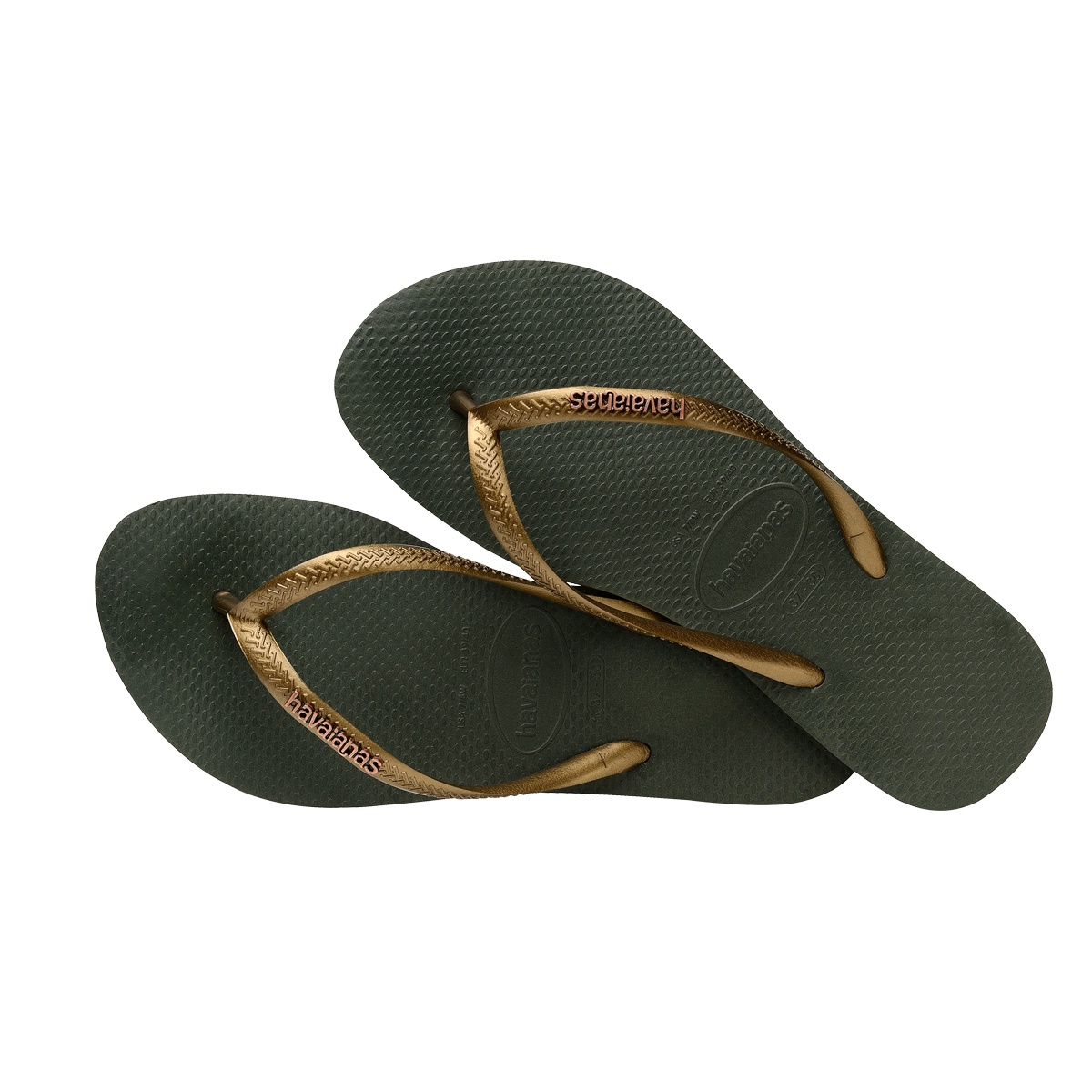 65dd14ff7 Havaianas Slim Logo Metallic - Green Olive Rose Gold - Out There Surf