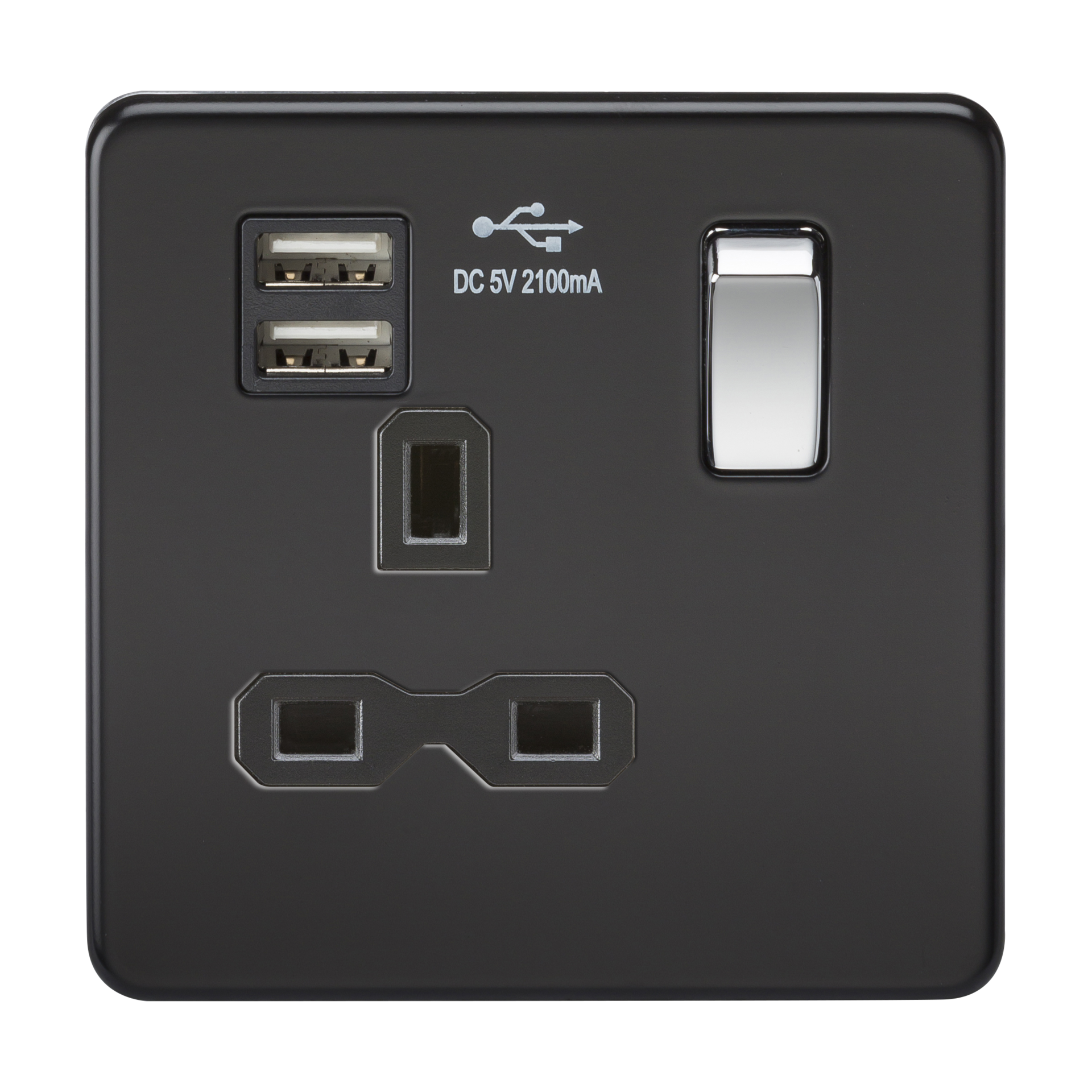 SCREWLESS 13A 1G SWITCHED SOCKET WITH DUAL USB CHARGER - MATT BLACK W/CHROME ROCKER