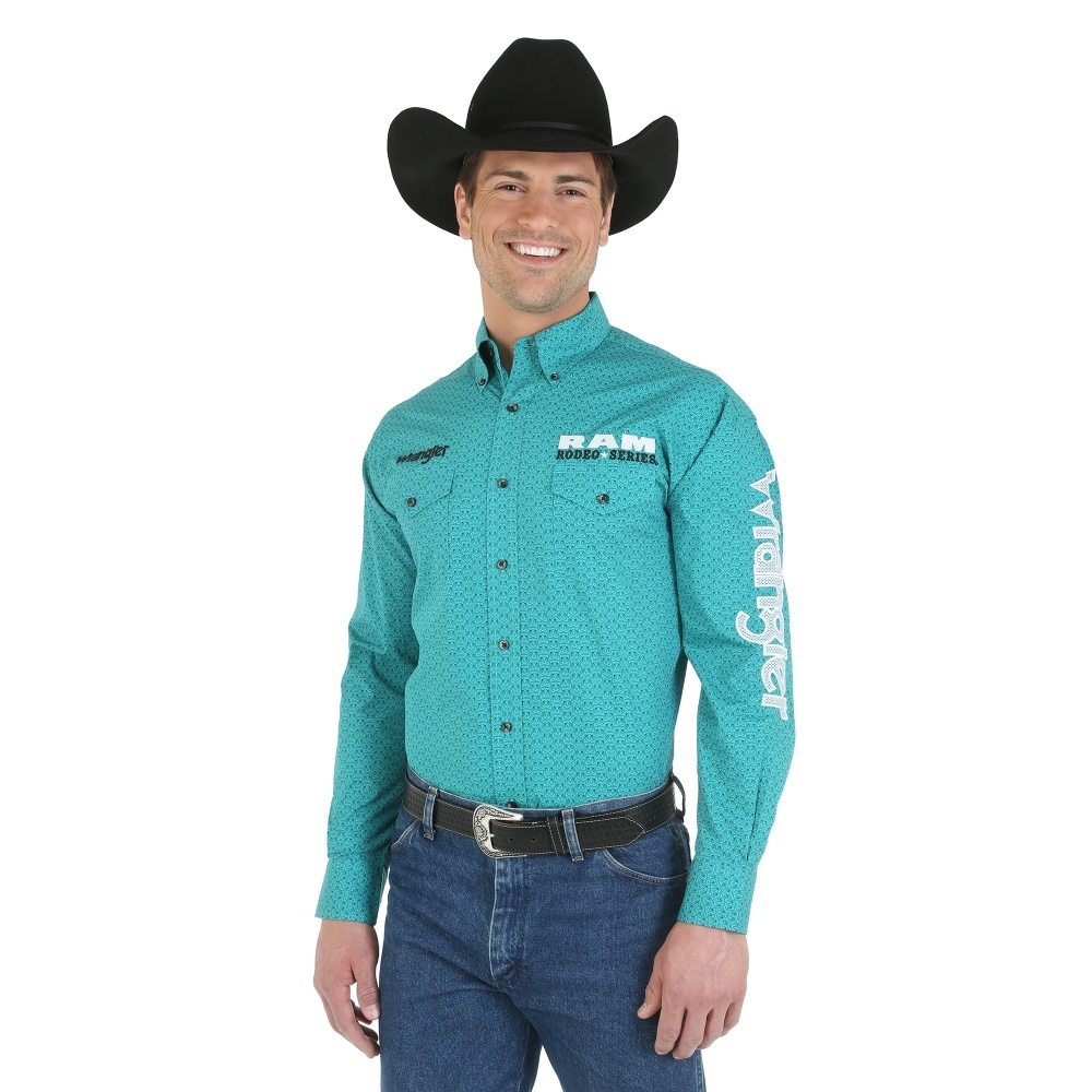 f55da481dfe Wrangler® and RAM® Rodeo Series Logo Long Sleeve Button Down Printed Shirt  - MP2298M - Green