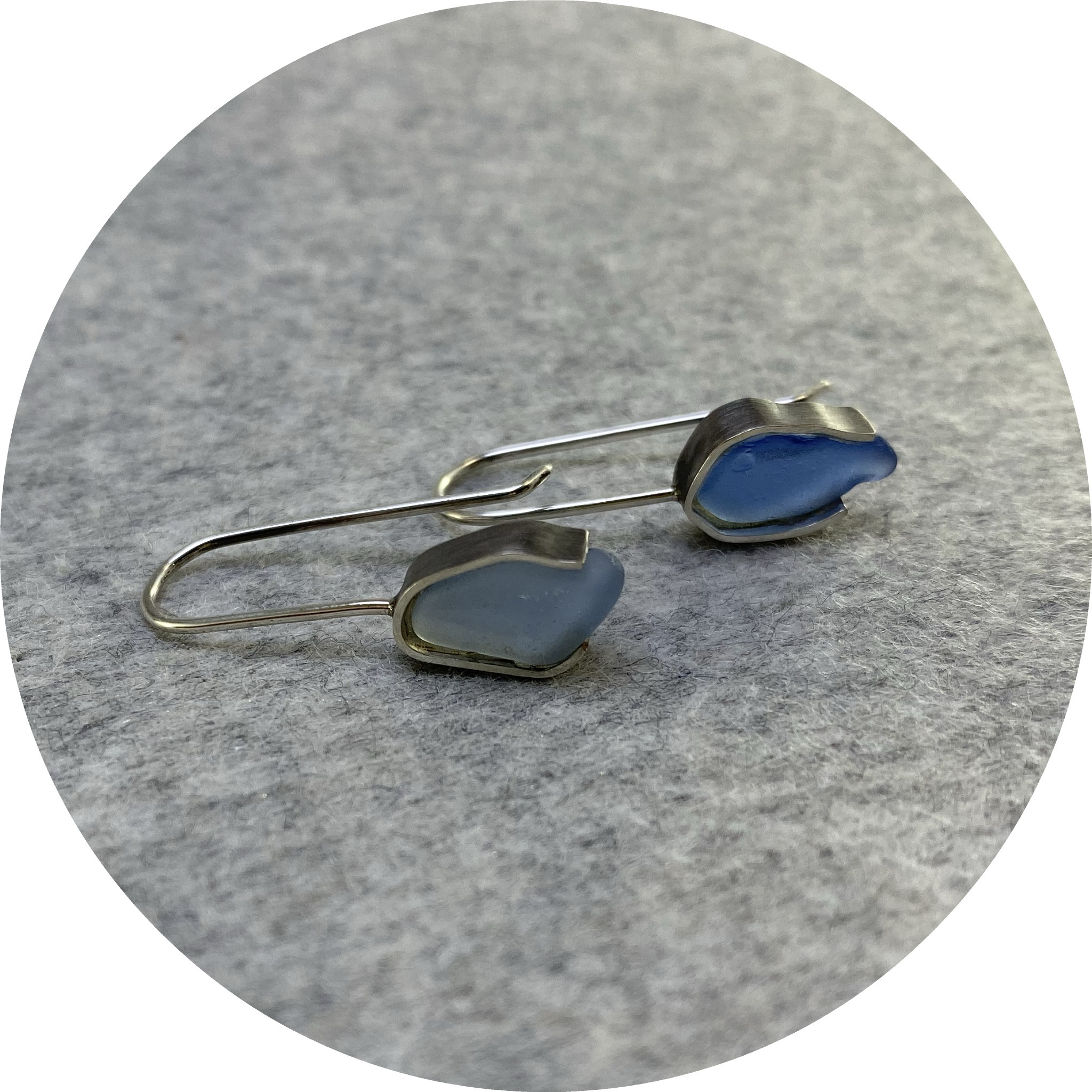 Susan Ewington - 'Blue Beach Glass Earrings', 925 silver, glass