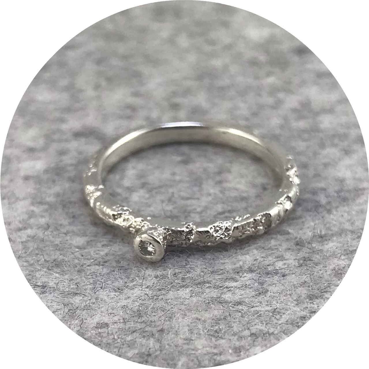 Albert Tse - Crater 1.5mm Sterling Silver Ring with 0.02ct Diamond