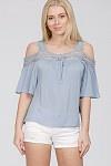 En- Cold Shoulder Top with Lace Trim