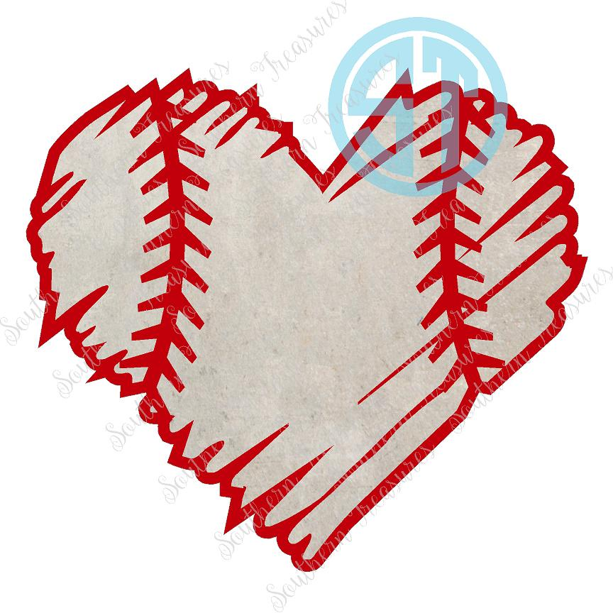 Baseball distressed. Heart decal