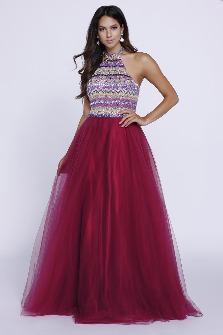 Halter Top Dress w/ Beaded Top | Prom Dresses | Barbara\'s Boutique