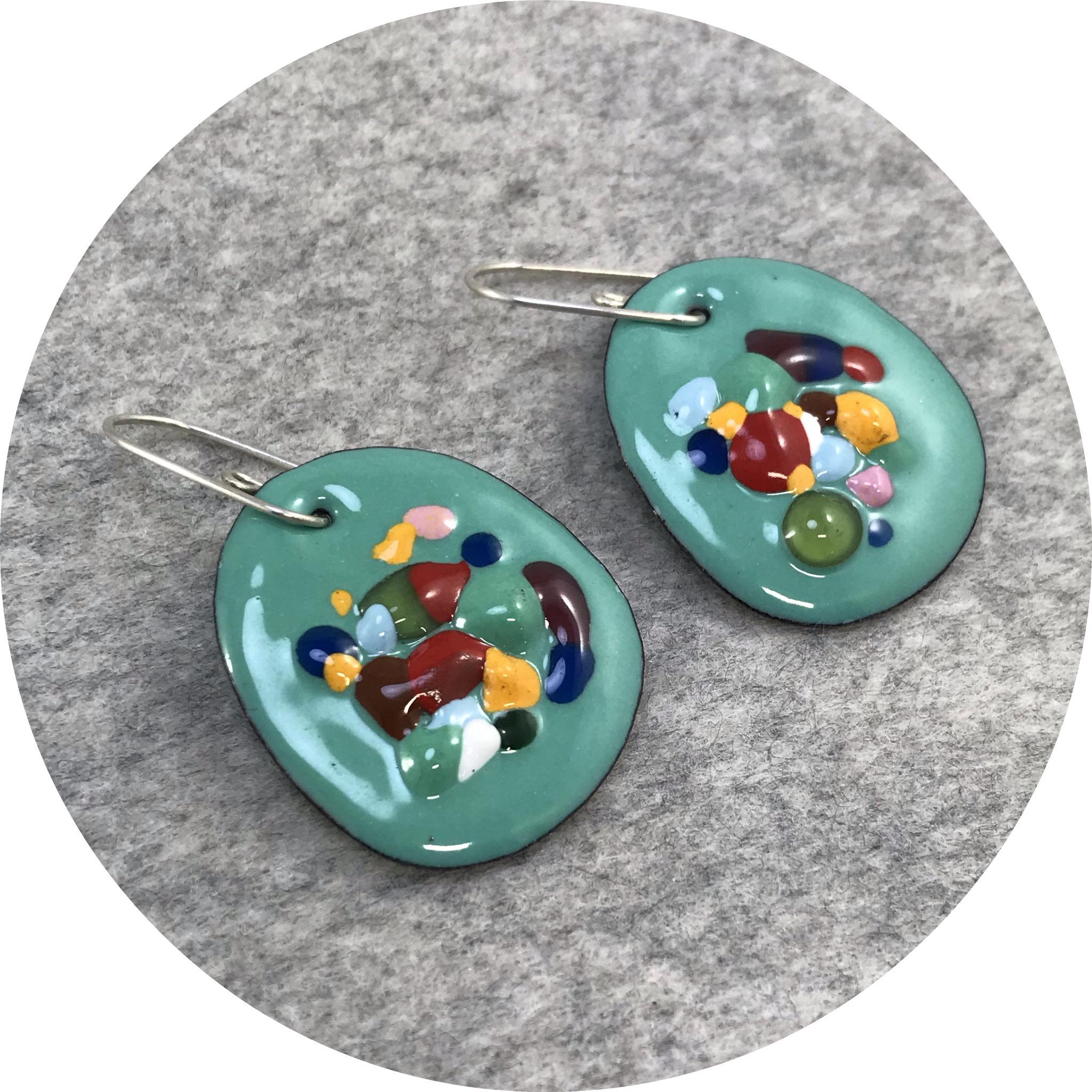 Jenna O'Brien - Small Queenie Earrings in Mint Green with Colourful Flecks
