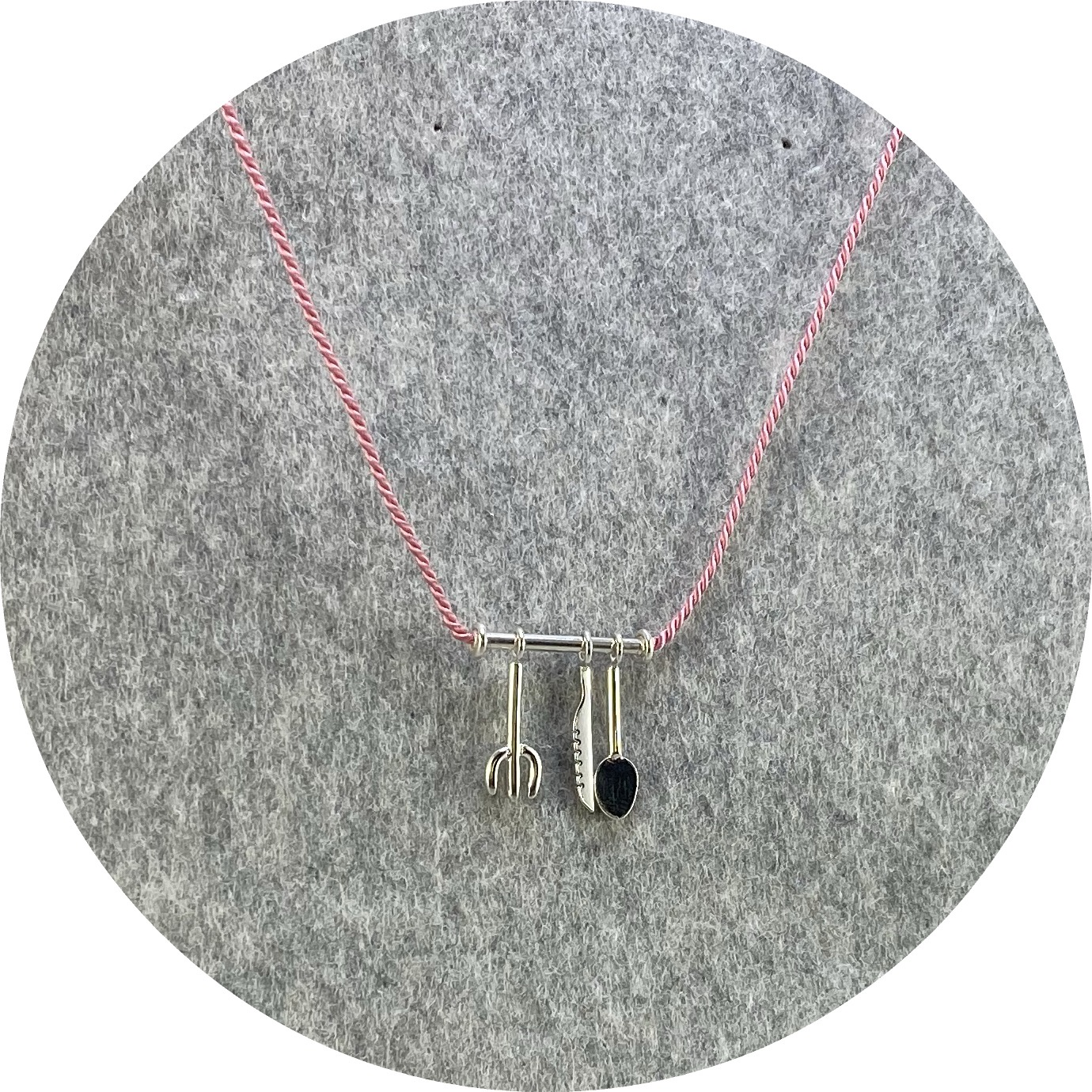 Melissa Gillespie - 'Miniature Cutlery Pendant' in Sterling Silver and Pink Silk