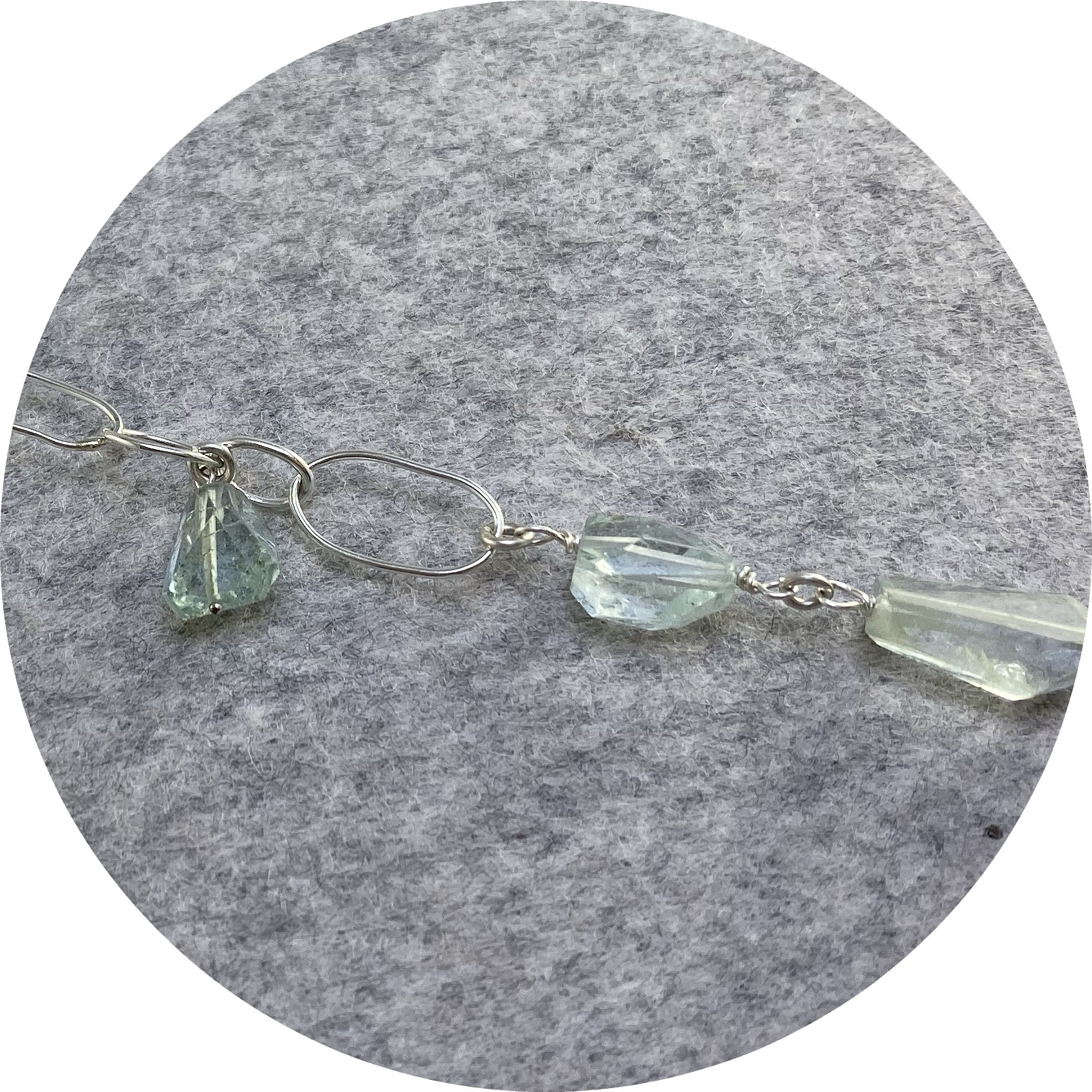 Katie Shanahan - Freeform Faceted Aquamarine Bracelet  with Handmade Sterling Silver Beads and Chain