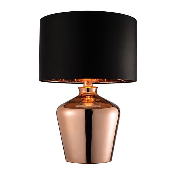 Waldorf table 60W SW - copper glass black faux silk