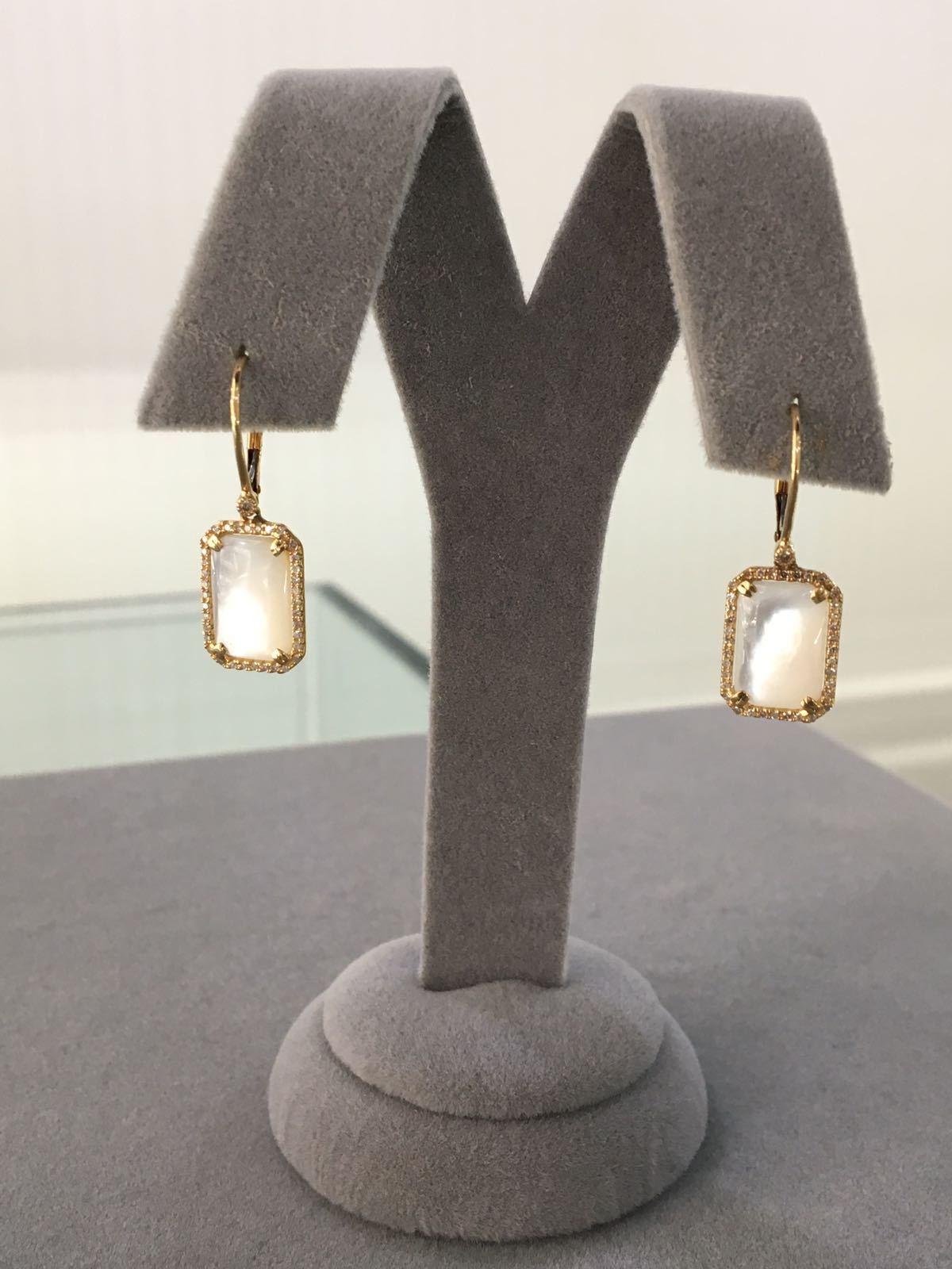 SALE! Heaven Mother-of-Pearl Earrings with Diamonds