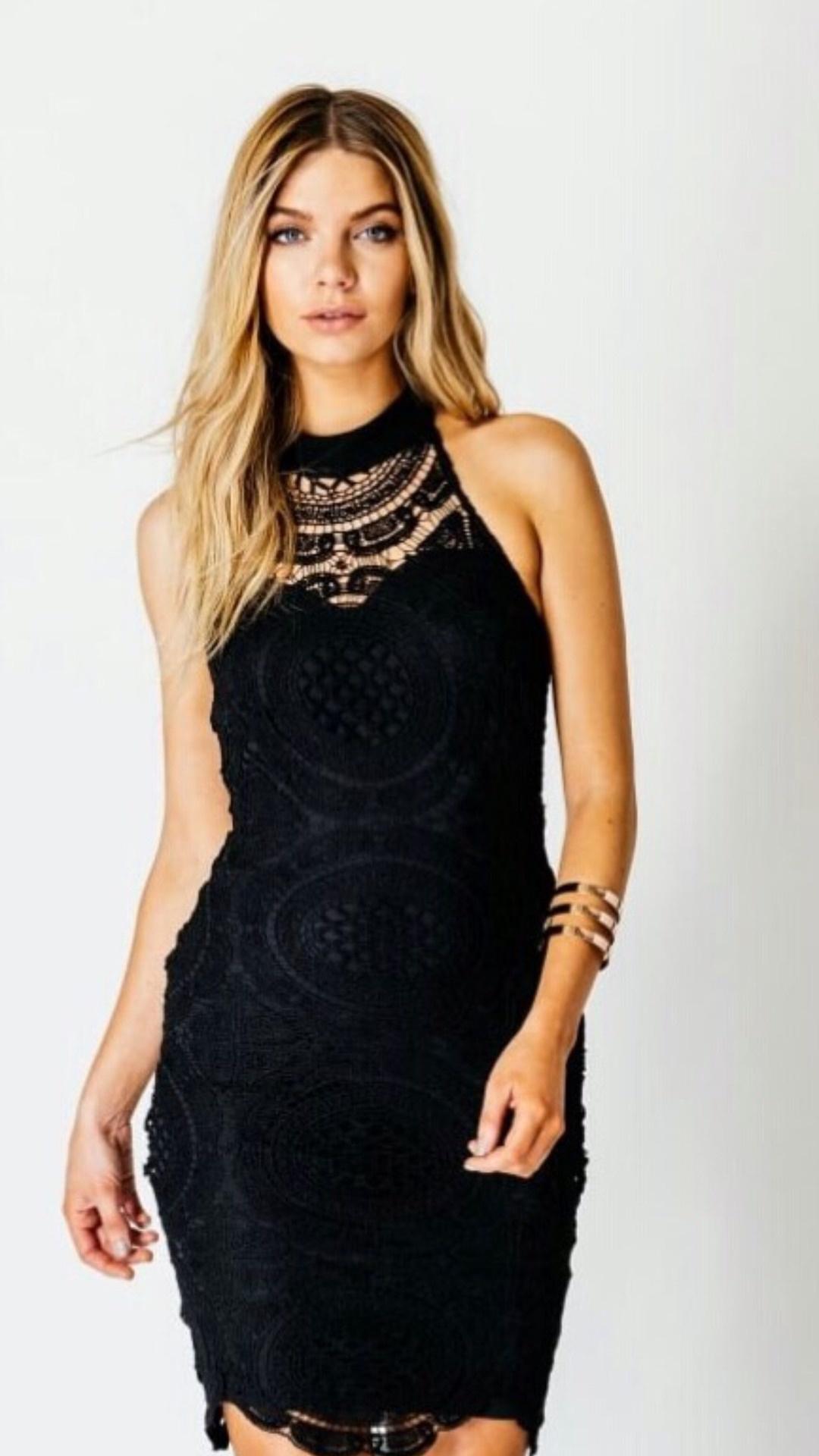 24bd9d8255b30 Short Dress - Black Lace, High Neck, Sleeveless Midi Dress - Stevie ...