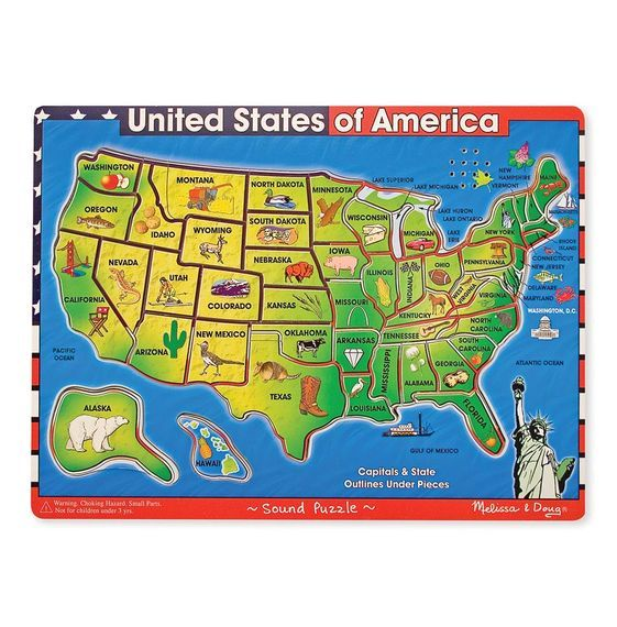 X MD 715 USA WOODEN PUZZLE WITH SOUND