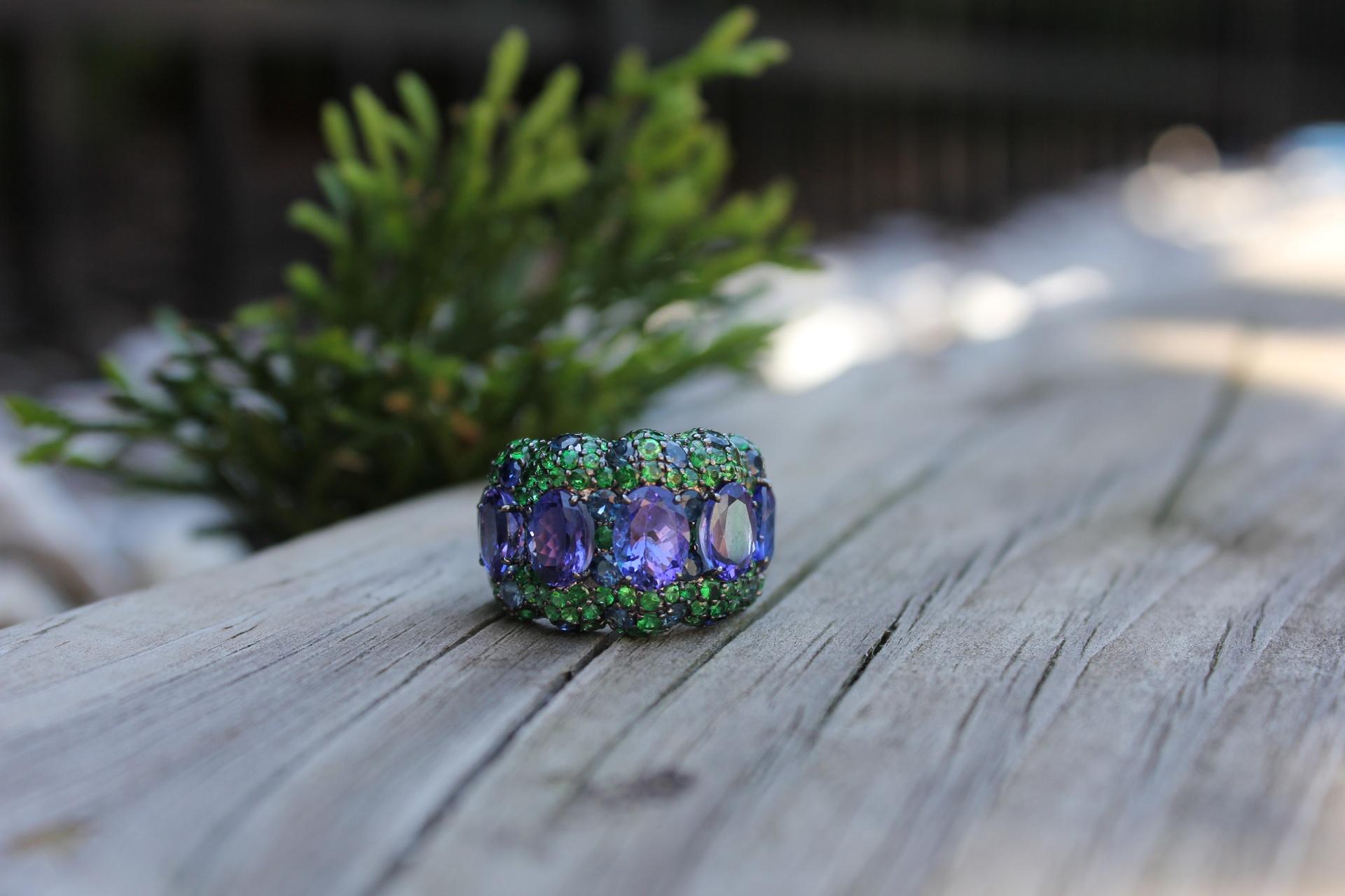 Azure Forest Tanzanite, Sapphire & Tsavorite Ring