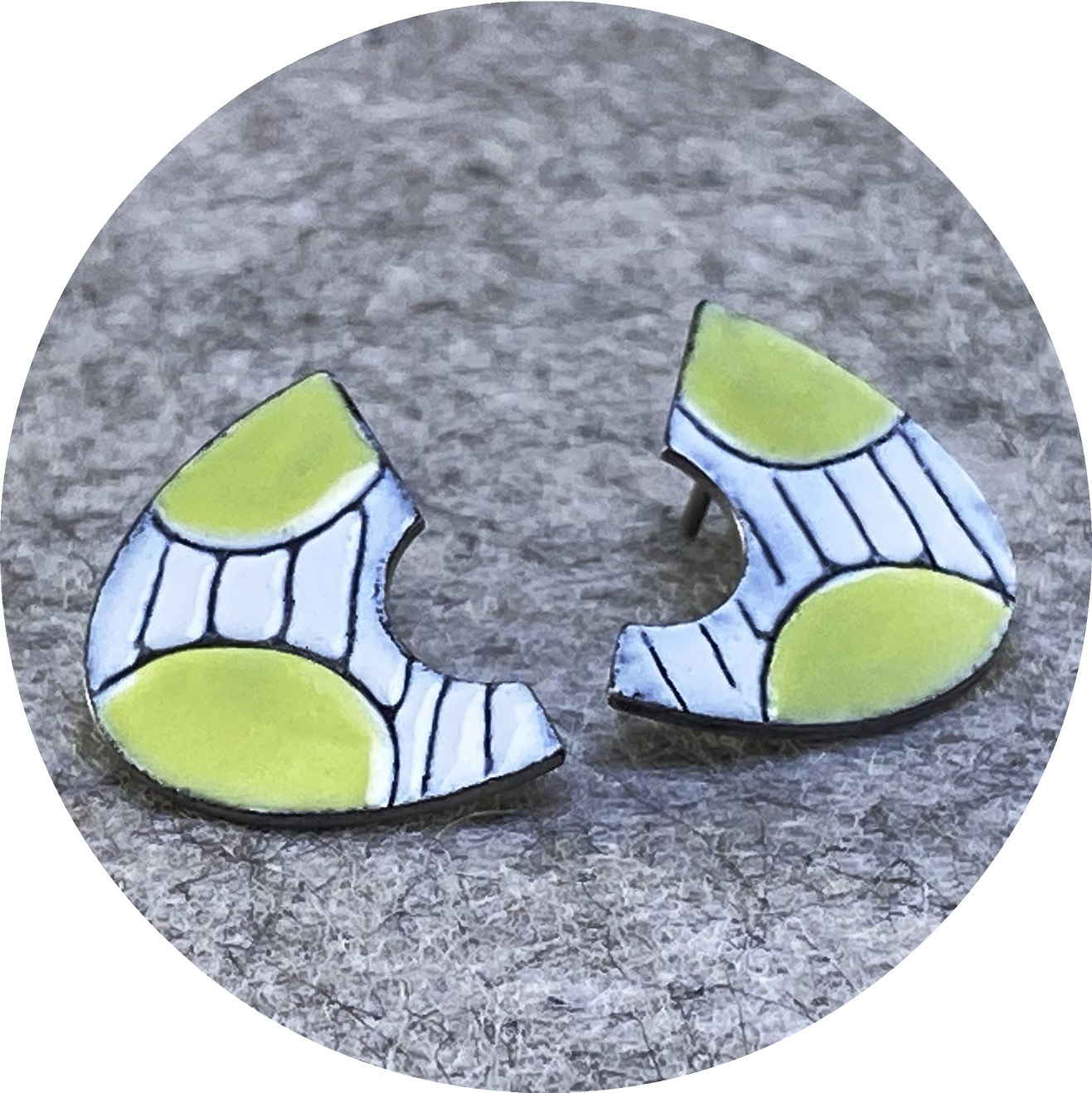 Sarah Murphy- Fan studs in medium. Chartreuse and white enamel on stainless steel.