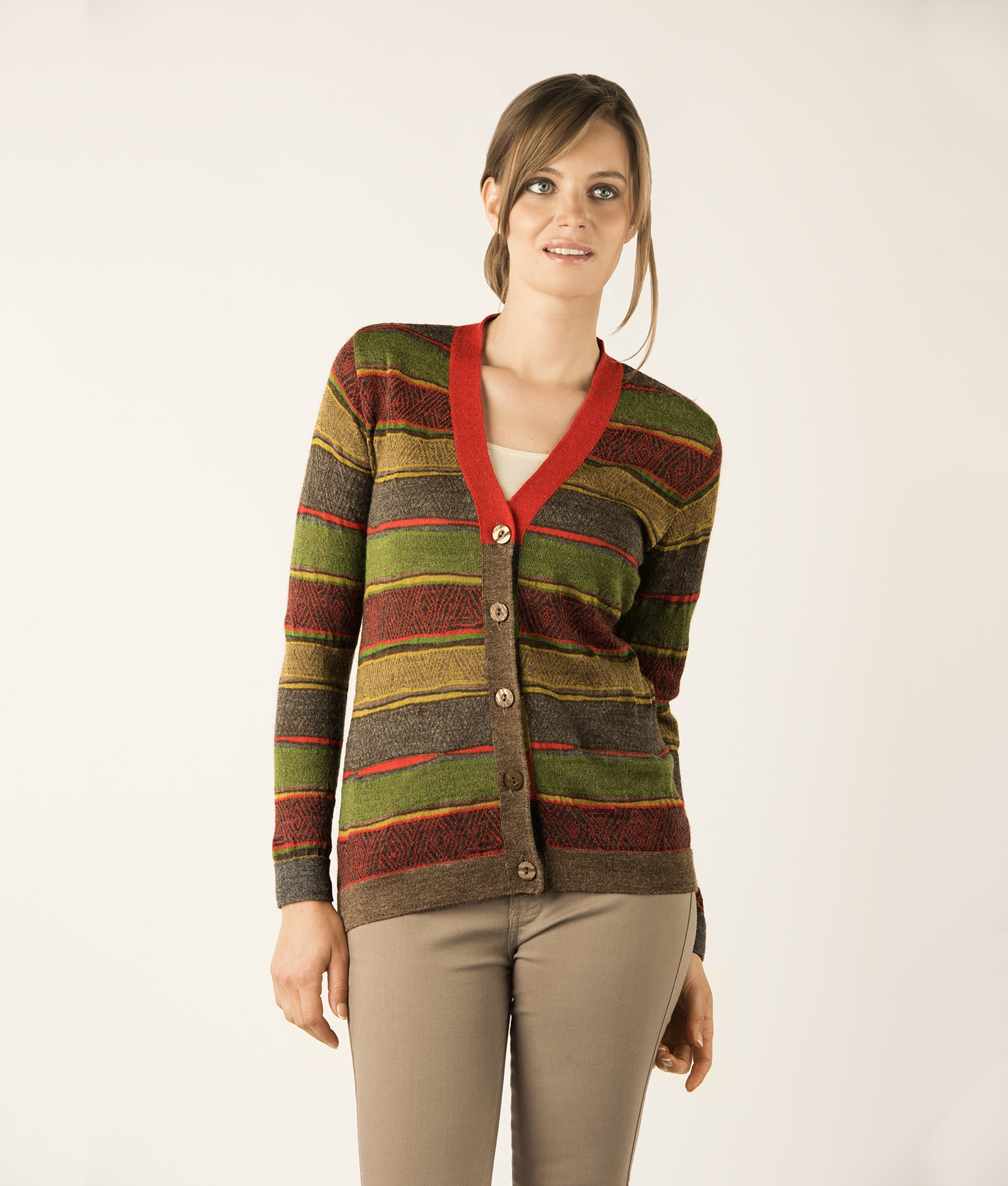 IRREGULAR CROSSED LINES CARDIGAN C001