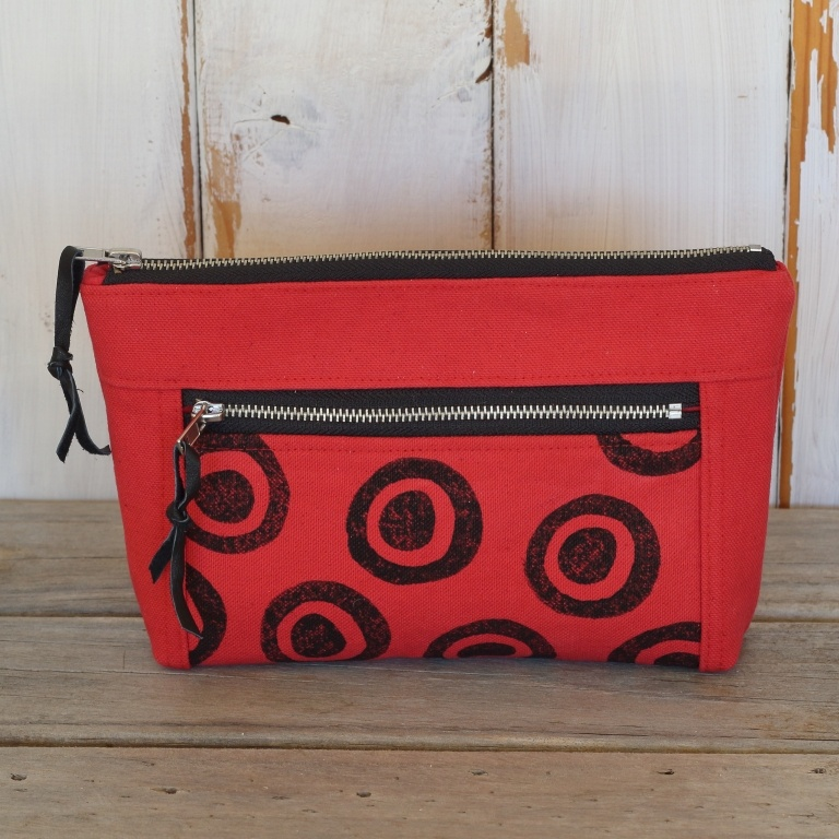 Red double zipped canvas pouch