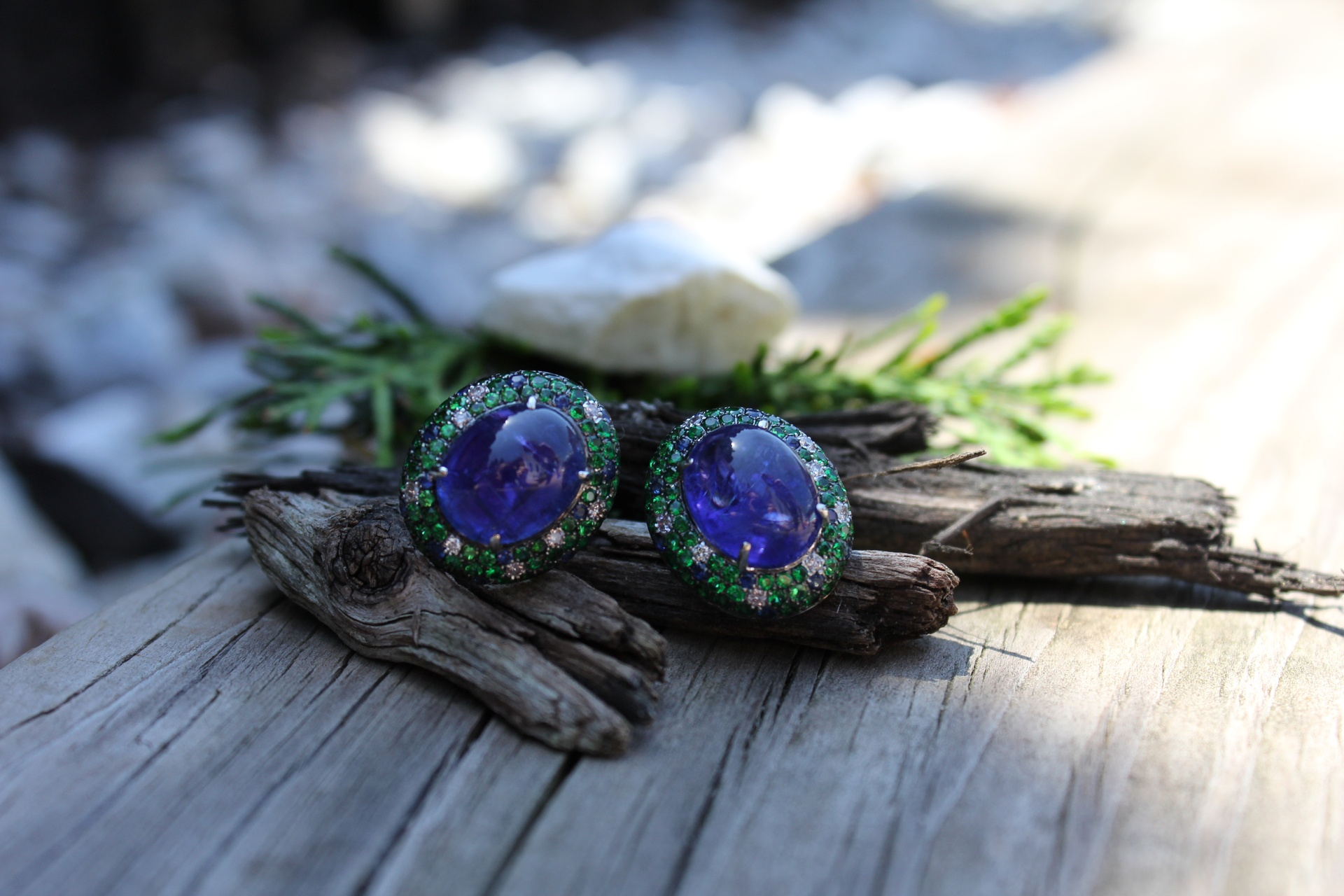 Twin Moons Tanzanite Cabochon Earrings
