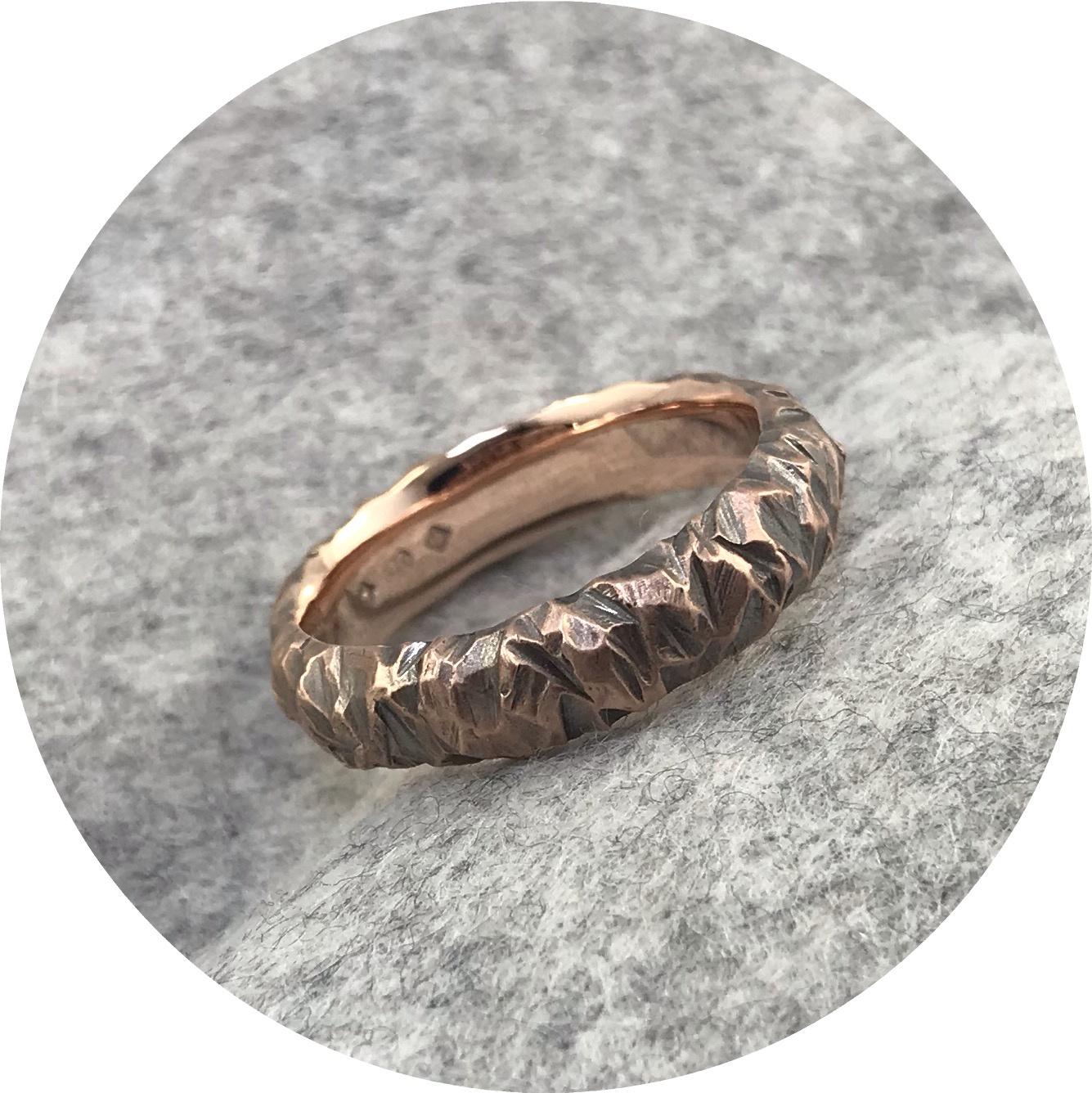 Emily Becher - 'Terrain Ring', 9ct rose gold, black ruthenium plated, T.5