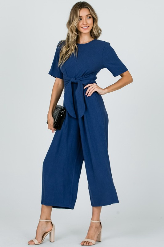 5c038771a83 S S Jumpsuit w Front Tie - Peacocks and Pearls