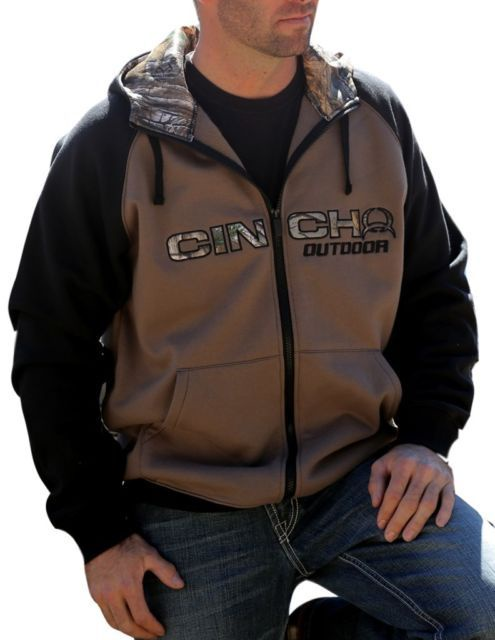 63f94fa385c82 Cinch Men s Fleece Zip Up Hoodie With Realtree Camo Hood Lining And Logo  CLEARANCE!!