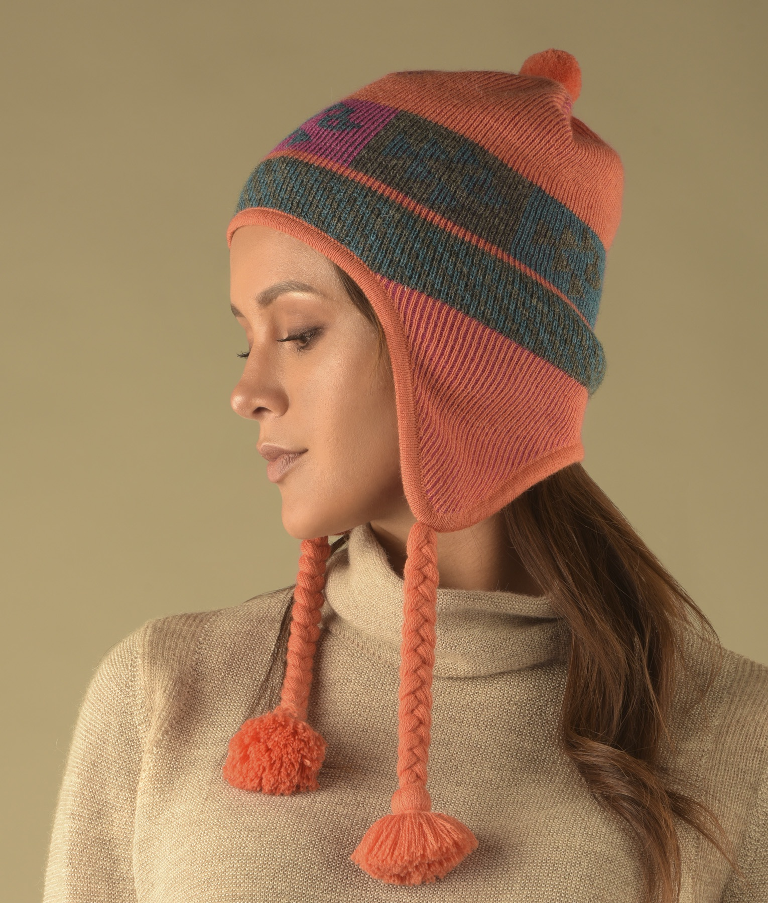 Reversible ribbed chullo C002