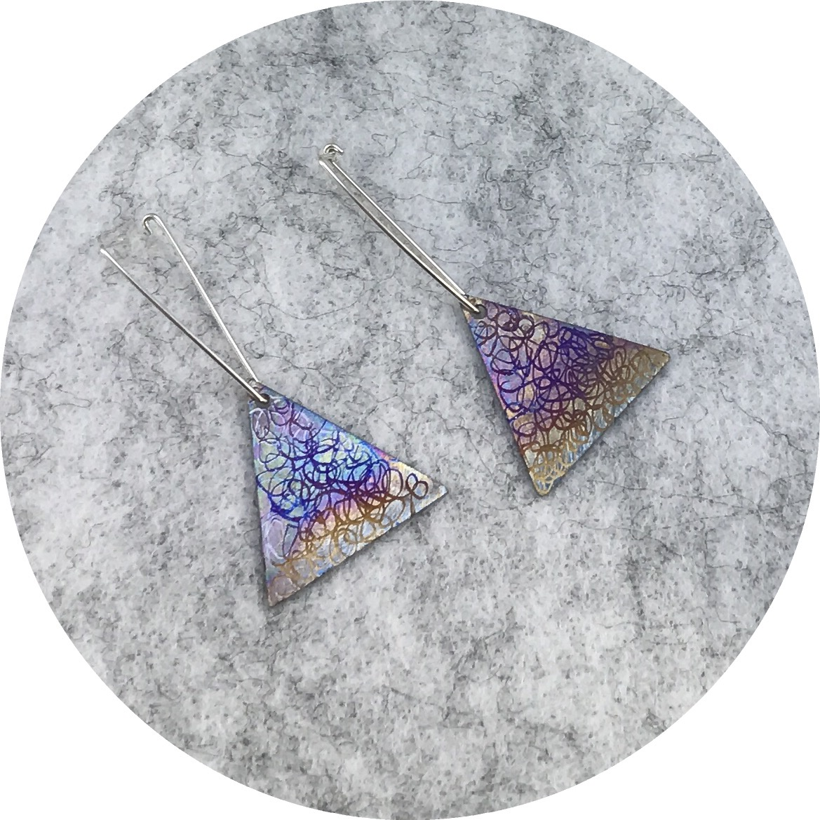 Tanja Von Behrens - Triangle Lighting Storm Earrings in Sterling Silver and Heat Coloured Titanium.