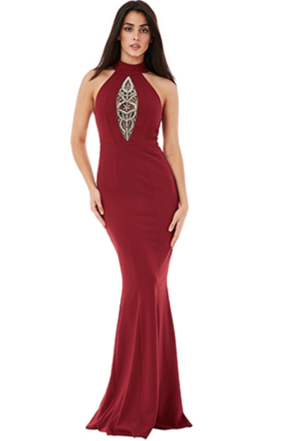 Floor Length Gown - Wine Embellished V Dress - Stevie Coleman Clothing