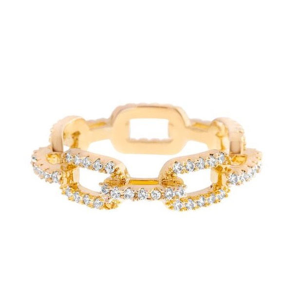 Girls Crew Bling Cable Chain Ring Gold