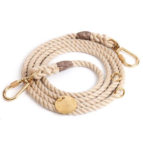 Light Tan Adjustable Rope Dog Leash | Medium