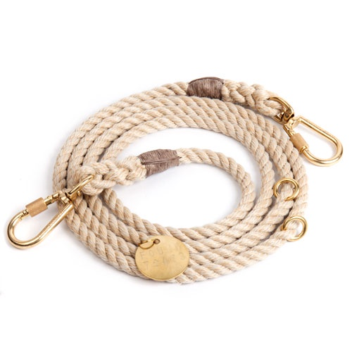 Light Tan Adjustable Rope Dog Leash | Large