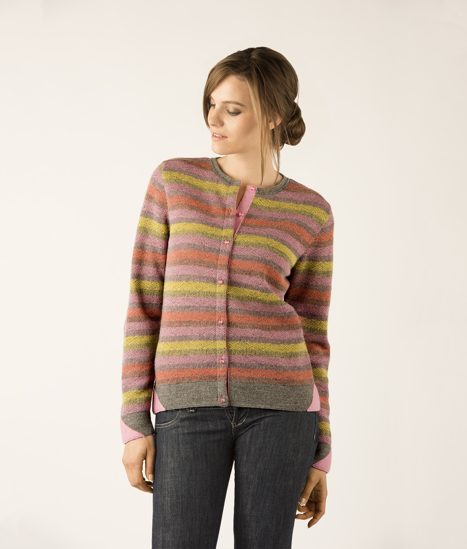 STRIPED BASIC CARDIGAN C002