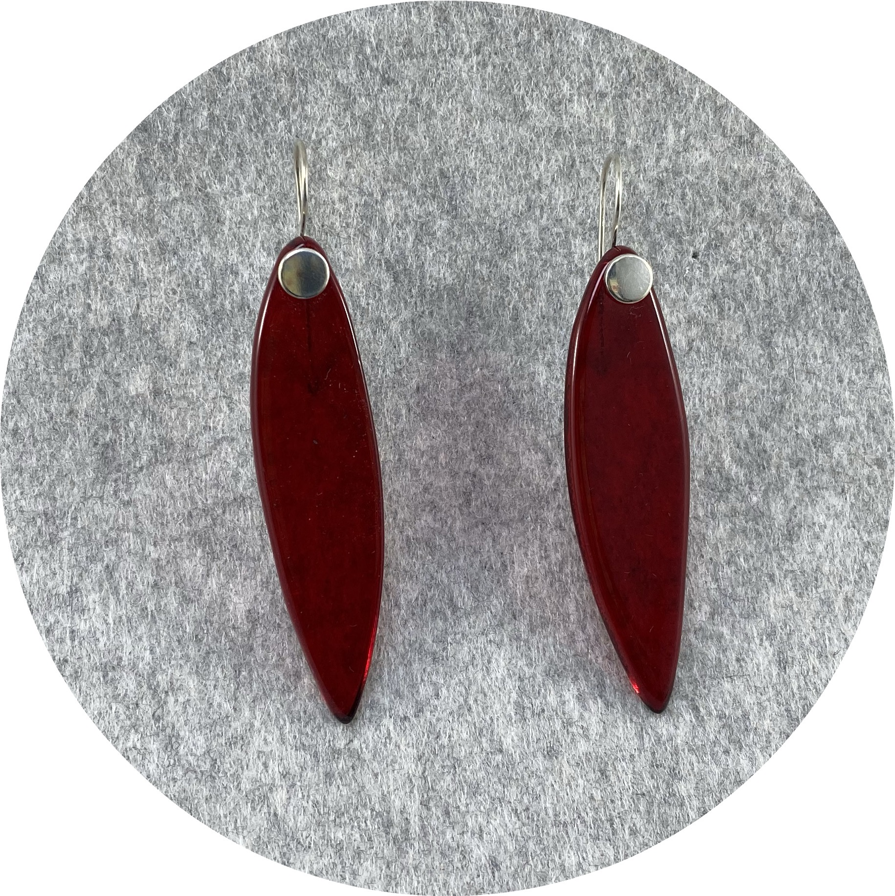 Alight Glass - Small Red Leaf Earrings, glass, sterling silver