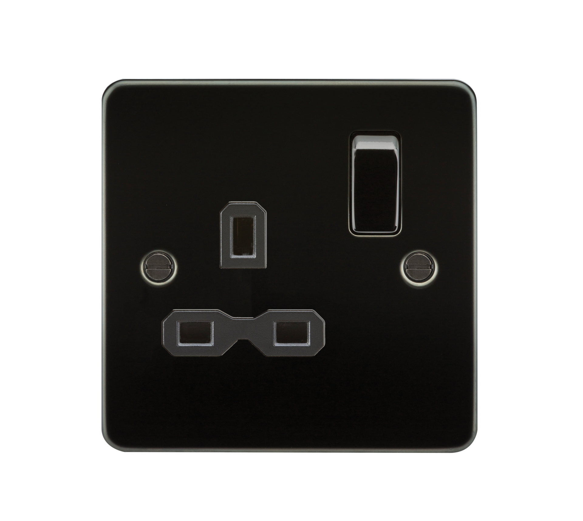 Flat plate 13A 1G DP switched socket - gunmetal with black insert