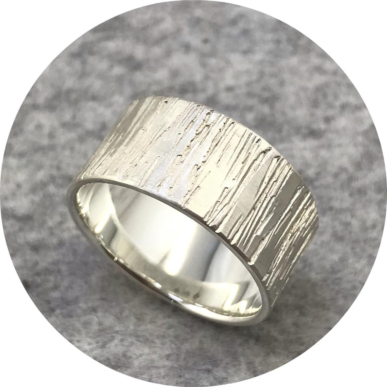 Emily Becher - 'Chisel Bark Ring' in Sterling Silver