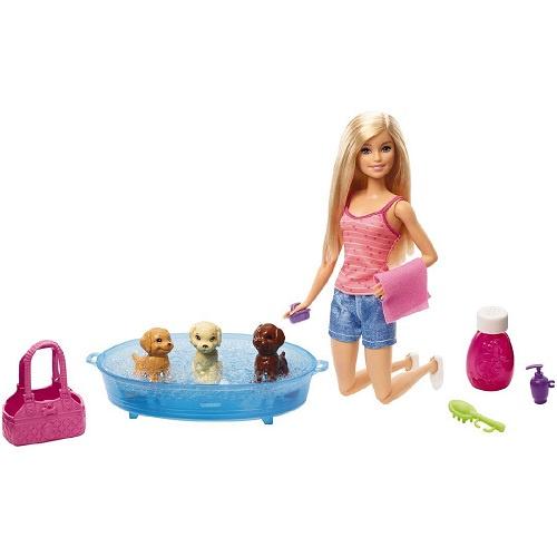 BARBIE DOLL & ACCESSORIES PUPPY BATH TIME