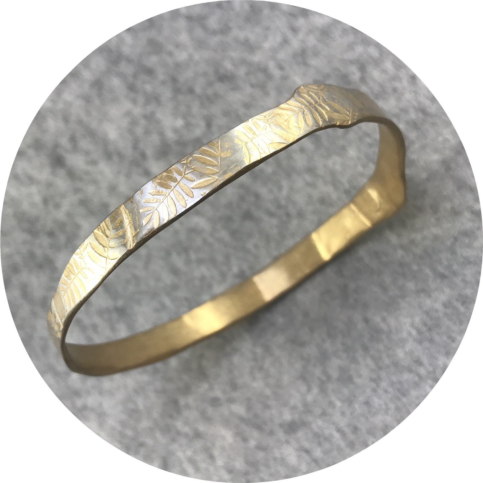Claire Taylor - Leaves Pattern Bangle in Yellow Gold Plated  Sterling Silver