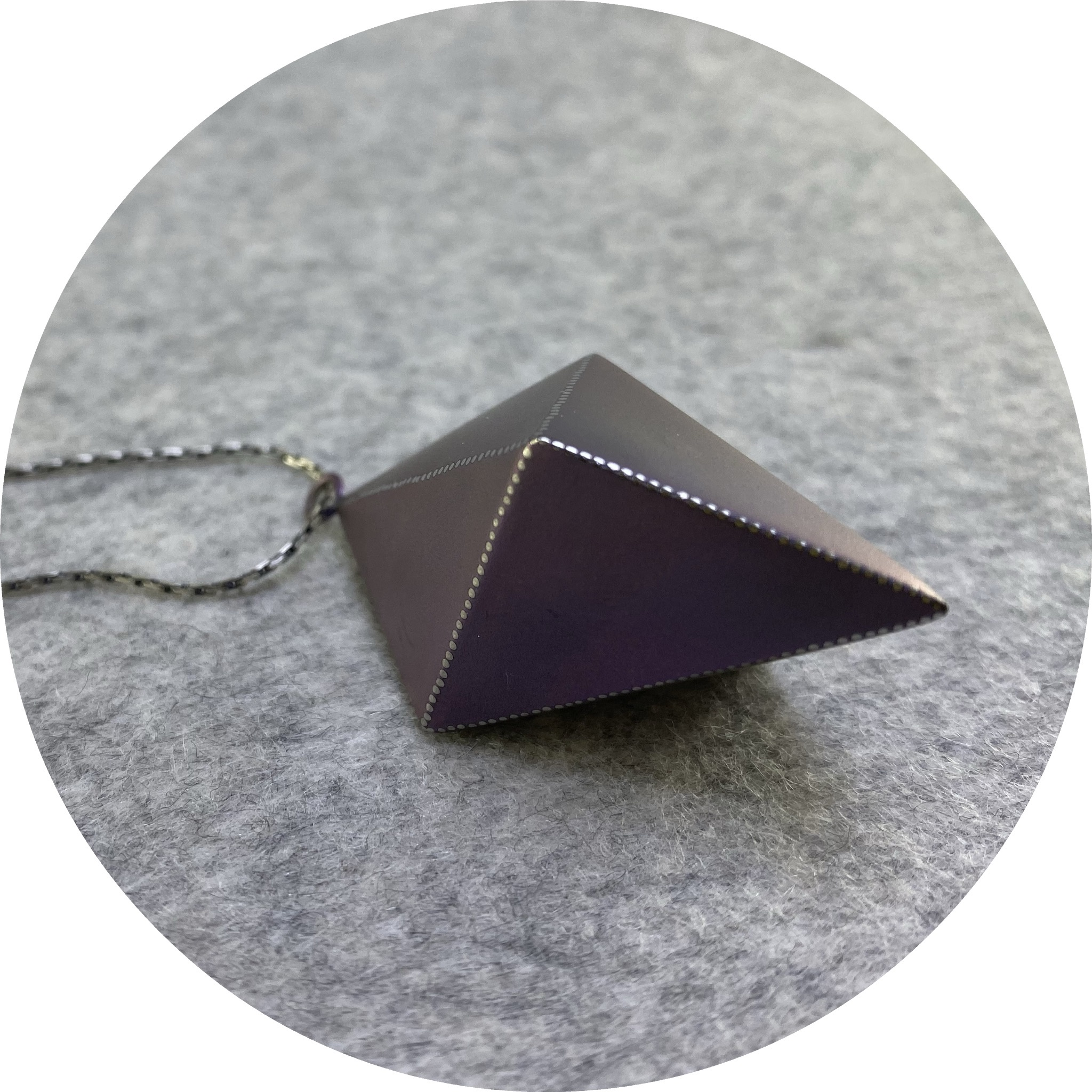 Sarah Murphy- Diamond necklace. Purple anodised titanium and sterling silver. 50x30mm.  80cm long.