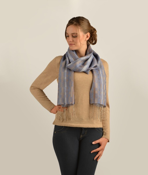STRIPPED WEAVES WIDE SCARF C002
