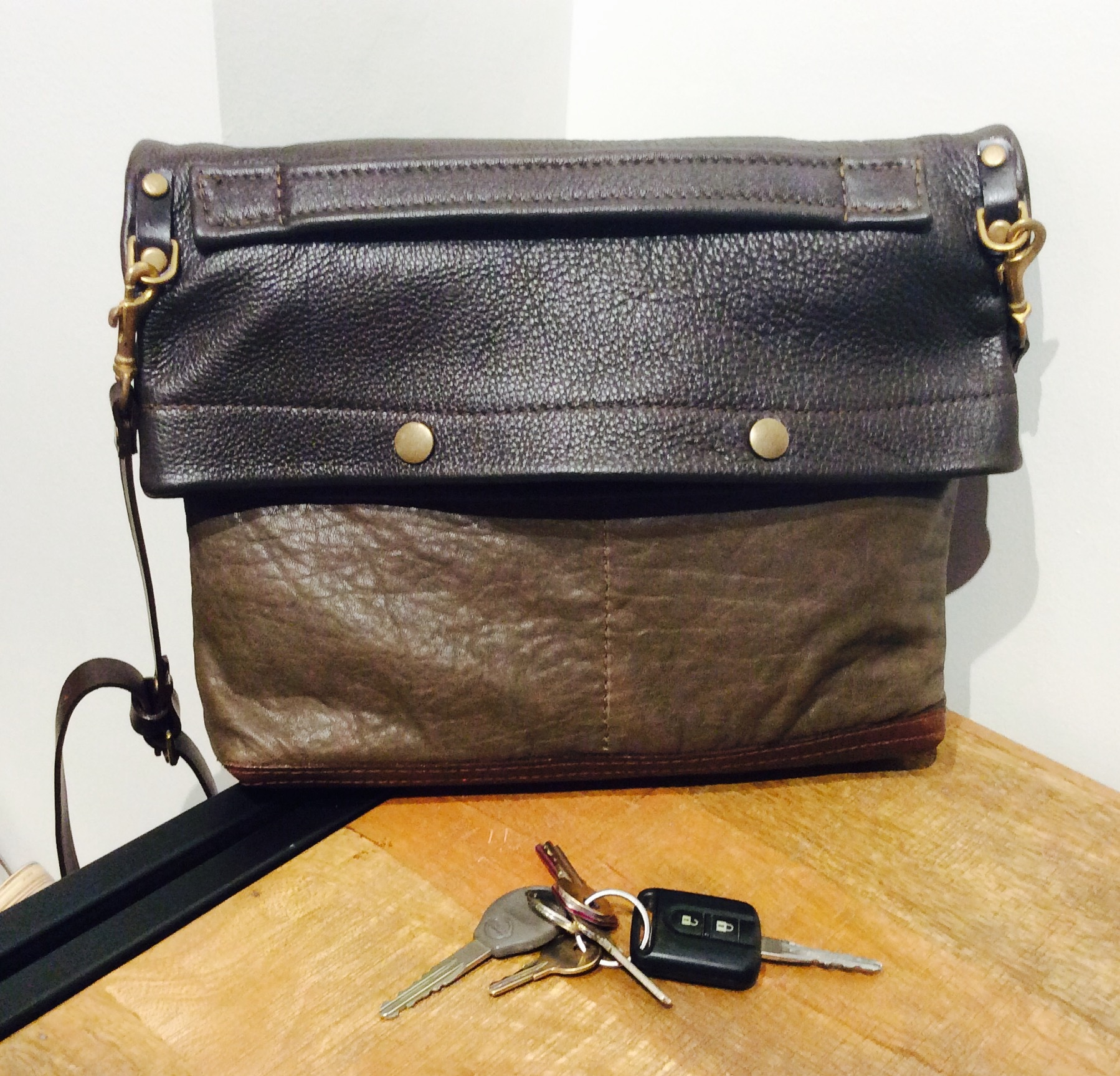 Small Green and Brown Leather San Francisco Bag