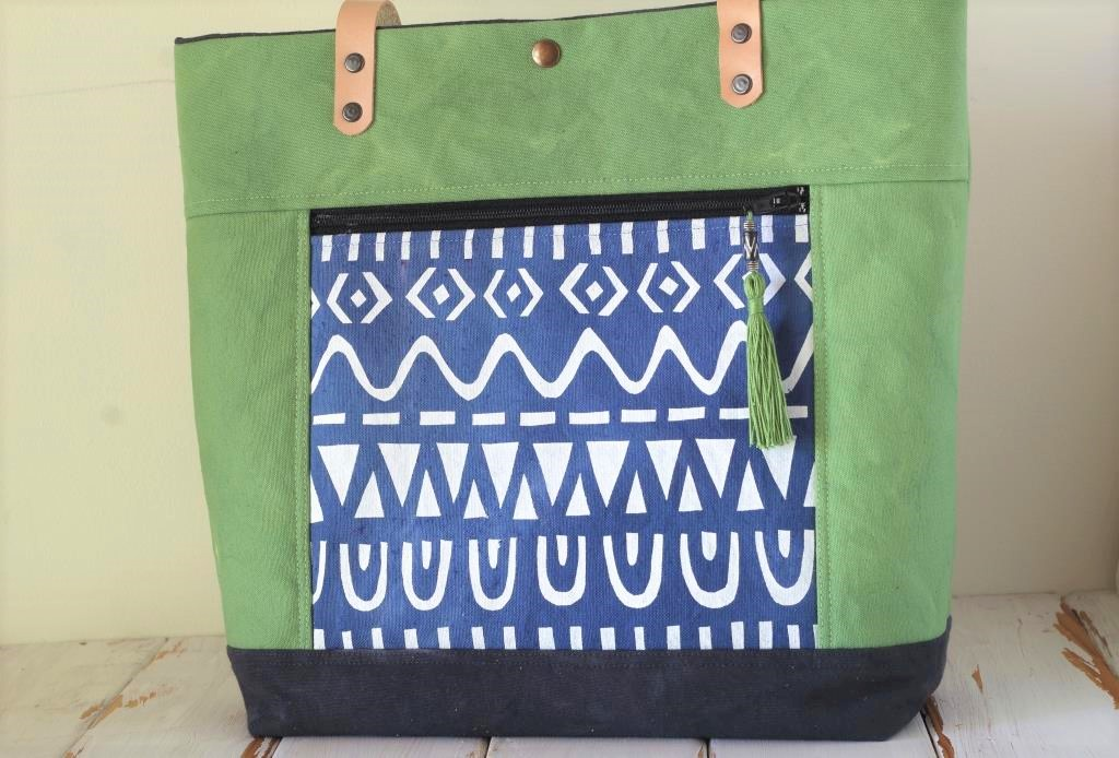Green Canvas Tote with zipped front pocket