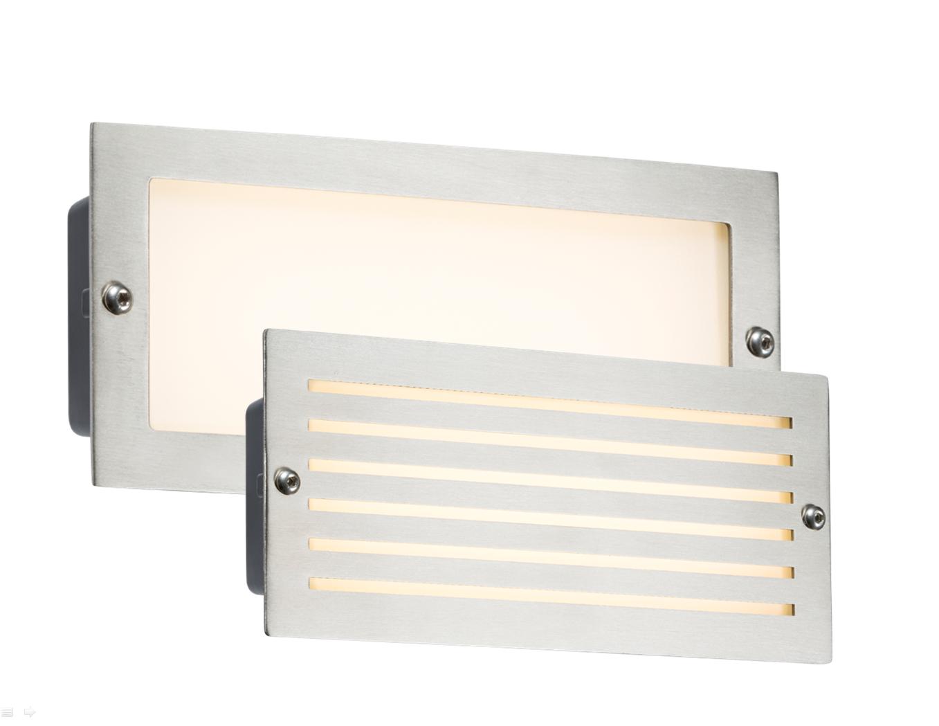 230V IP54 5W WHITE LED BRICK LIGHT - BRUSHED STEEL FASCIA